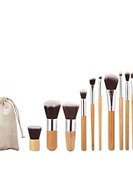 baratos -11pçs Profissional Pincéis de maquiagem Conjuntos de pincel / Pincel para Base / Pincel para Blush Fibra Sintética Cobertura Total Bambu