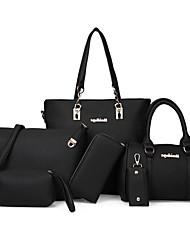 preiswerte -Damen Taschen PU Bag Set 6 Stück Geldbörse Set Niete / Reißverschluss für Veranstaltung / Fest / Formal / Büro & Karriere Rosa / Grau /