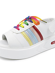 Women's Sandals Comfort Summer PU Casual Black Ruby Screen Color Flat