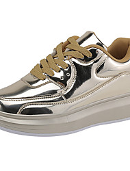 cheap -Women's Sneakers Comfort Fall Winter PU Casual Outdoor Lace-up Flat Heel Gold Silver 1in-1 3/4in