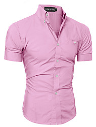 10 Colors This Year Of Summer Man Almirah Necessary Article Men's  Simple Dress Shirt Solid Short Sleeve Shirt