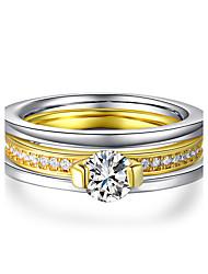 preiswerte -Damen Ring , Kubikzirkonia Klassisch Elegant Doppelschicht Gold Titanstahl Platin Kreisförmig Prinzessin Modeschmuck Hochzeit Jahrestag