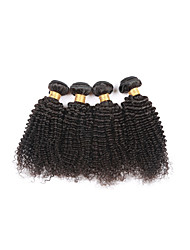 High Quality Medium Size 4Pcs/Lot 400g Brazilian Kinky Curly Virgin Remy Human Hair Wefts 100% Unprocessed Natural Black Human Hair Weaves/Extensions