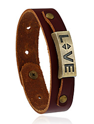 cheap -Retro All-Match Love Alloy Accessories Leather Bracelet