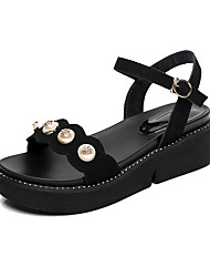 Women's Sandals Novelty Light Soles Summer Synthetic Microfiber PU Leatherette Casual Office & Career Imitation Pearl Rivet Buckle Wedge