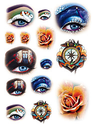 Temporary Tattoos Face Body Romantic Series 3D Rose Waterproof Tattoos Stickers Non Toxic Glitter Large Fake Tattoo Halloween Gift 22*15cm