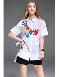 Dámské Jednobarevné Výšivka Běžné/Denní Cikánský Košile Bavlna Košilový límec Krátký rukáv
