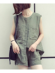 Women's Going out Casual/Daily Sexy Street chic Spring Summer T-shirt Pant Suits,Solid Textured Sexy Stand Sleeveless Micro-elastic