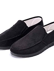 cheap -Men's Loafers & Slip-Ons Comfort Spring Fall Fabric Walking Shoes Casual Outdoor Flat Heel Black Under 1in