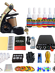 Complete Tattoo Starter Kit  Machine Set 7 Colors Pigment Set Power Supply Needle Grio Tip