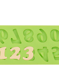 Silicone Number Mold Fondant Mold for Chocolate Fimo Clay Color Random