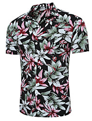 Large Size Men's Fashion Casual Short-Sleeved Hawaiian Flower Shirt