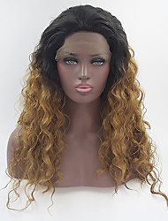 cheap -Natural Straight Long Black Brown Ombre Wig Synthetic Lace Front Wigs Heat Resistant Fiber Two Tone Hair For Women