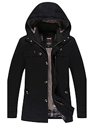 Men's Daily Vintage Winter Fall Jacket,Solid Hooded Long Sleeve Long Cotton