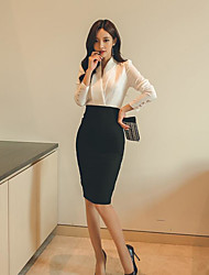 Women's Daily Work Formal Spring Shirt Skirt Suits,Solid V Neck Long Sleeve 100% Cotton