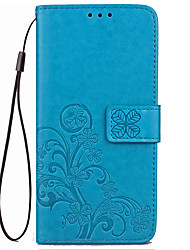 cheap -Case For Xiaomi Redmi 4X Case Cover Card Holder Wallet with Stand Flip Embossed Full Body Case Solid Color Flower Hard PU Leather