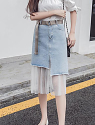 Women's Casual/Daily Midi Skirts A Line Color Block Summer