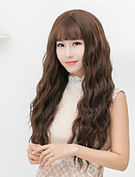 cheap -Cheap Women Synthetic Wigs Long Dark Chestnut Brown Grey Loose Wave Middle Part With Bangs Natural Lolita Wig
