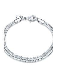 cheap -Women's Girls' Crystal Silver Plated Chain Bracelet - Friendship Fashion Rock Punk Geometric Silver Bracelet For Christmas Gifts Wedding