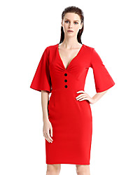 cheap -Women's Plus Size Work Vintage Flare Sleeve Bodycon Sheath Dress - Solid Colored, Vintage Style Patchwork High Rise Deep V