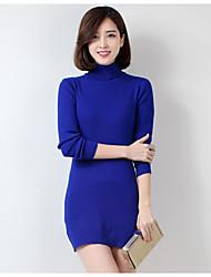 Lungo Set Da donna-Casual Tinta unita Monocolore A collo alto Manica lunga Cashmere Lana Autunno Inverno Medio spessore Media elasticità