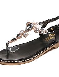 cheap -Women's Sandals Comfort Light Soles Summer PU Dress Crystal Flat Heel Black Green Flat