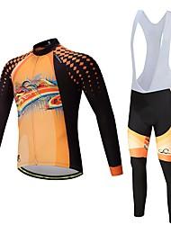 billige -Langærmet Cykeltrøje og tights med seler - Sort / Orange Cykel Tøjsæt, Hurtigtørrende Polyester, Spandex, Silikone / Lycra