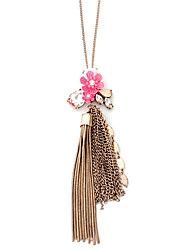 Women's Pendant Necklaces Jewelry Flower Geometric Rose Gold Alloy Flower Style Ribbons Flowers Love Natural Floral Double-layer Tassels