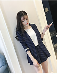 cheap -Women's Daily Soak Off Summer Blazer Pant Suits,Striped Round Neck Long Sleeve Corduroy