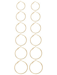 Women's Earring Back Hoop Earrings Circular Unique Design Fashion Euramerican Simple Style Metal Alloy Circle Geometric Jewelry For