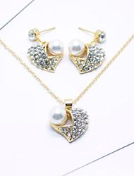 Per donna Set di gioielli Strass Perle finte Strass Lega A forma di cuore Per Matrimonio Feste Occasioni speciali CompleannoRegali di