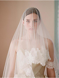 cheap -One-tier Lace Applique Edge Wedding Veil Fingertip Veils With Flower Comb Lace Tulle