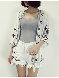 Women's Daily Casual Summer Coat,Print V Neck Short Sleeve Regular Polyester