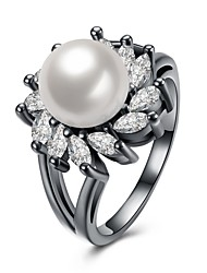 cheap -Women's AAA Cubic Zirconia Crossover Ring - Imitation Pearl, Zircon, Copper Friends, Bowknot Statement, Personalized, Luxury 6 / 7 / 8 Silver For Christmas / Christmas Gifts / Wedding / Silver Plated