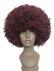 baratos -Perucas sintéticas / Perucas de Fantasia Afro / Kinky Curly Cabelo Sintético Vermelho Peruca Mulheres Curto Sem Touca