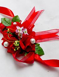 abordables -Fleurs de mariage Petit bouquet de fleurs au poignet Mariage Mousseline de soie Soie Coton Satin 5cm