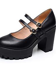 Feminino Saltos Sapatos formais Couro Primavera Outono Casual Sapatos formais Salto Grosso Preto 12 cm ou mais