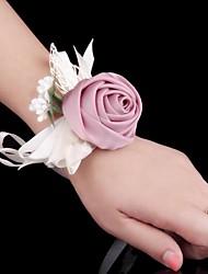 abordables -Fleurs de mariage Petit bouquet de fleurs au poignet Mariage Occasion spéciale Soie Métal Satin 6cm
