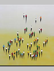 Недорогие -Hang-роспись маслом Ручная роспись - Люди Абстракция Modern Без внутренней части рамки