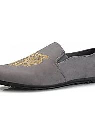 abordables -Hombre Zapatos de taco bajo y Slip-Ons Mocasín PU Primavera Otoño Casual Paseo Mocasín Estampado Animal Tacón Plano Negro Gris 5 - 7 cms