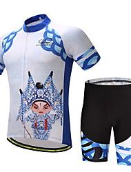Велокофты и велошорты Муж. С короткими рукавами Велоспорт Наборы одежды Фиксирующий шнурок Хорошая вентиляция Фитиль МягкостьПолиэстер