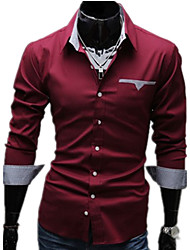 cheap -Men's Daily Work Plus Size Casual Spring Fall Shirt,Solid Classic Collar Long Sleeves Cotton Others