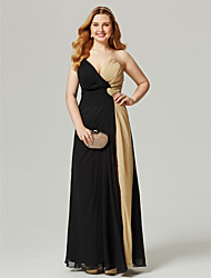 cheap -Sheath / Column V-neck Floor Length Chiffon Plus Size Formal Evening Dress with Pleats by TS Couture®