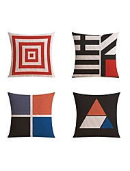 4 pcs High Quality Linen Pillow case Bed Pillow Body Pillow Travel Pillow Sofa Cushion Pillow CoverGeometric Color Block FashionGeometric Abstract