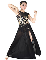cheap -Latin Dance Dresses Women's Performance Spandex Sequined Sequin Flower Sleeveless Natural Dress Headwear