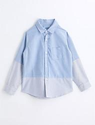abordables -Camisa Chico Bloques Algodón Mangas largas Primavera Otoño Azul claro