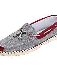 cheap -Men's Boat Shoes Comfort Light Soles Spring Fall Fabric Casual Flat Heel Blue Burgundy Flat