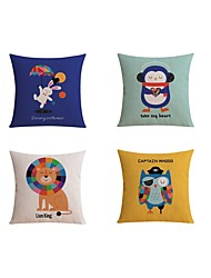 4 pcs High Quality Linen Pillow case Bed Pillow Body Pillow Travel Pillow Sofa Cushion Pillow CoverCartoon Fashion AnimalCute Cartoon Lion