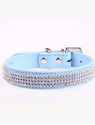 cheap -Dog Collar Anti-Slip Portable Anti Bark Adjustable Rhinestone PU Leather Black Light Blue