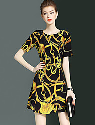 cheap -YHSP Women's Casual Sophisticated A Line Sheath Dress - Abstract, Stylish Print